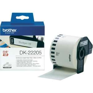 Консуматив Brother DK-22205 Roll White Continuous Length Paper Tape 62mmx30.48M (Black on White)