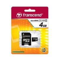 Памет Transcend 4GB microSDHC (1 adapter - Class 4) TS4GUSDHC4