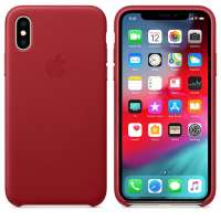 Калъф Apple iPhone XS Leather Case - (PRODUCT) RED MRWK2ZM/A